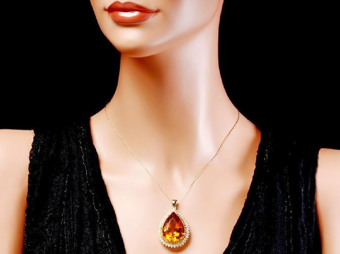 14k Gold 37ct Citrine 1.85ct Diamond Pendant - 3