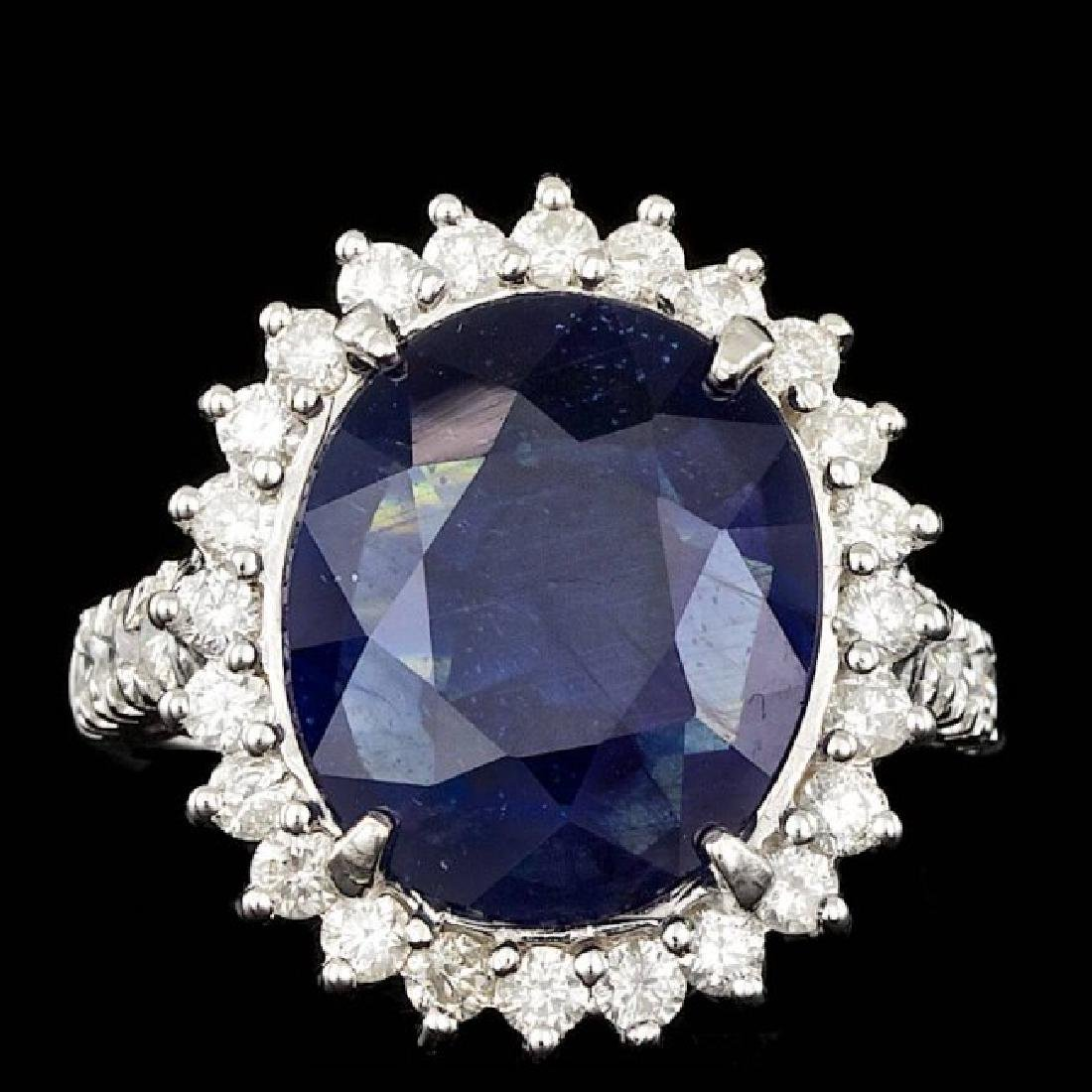 14k Gold 9.00ct Sapphire 1.10ct Diamond Ring