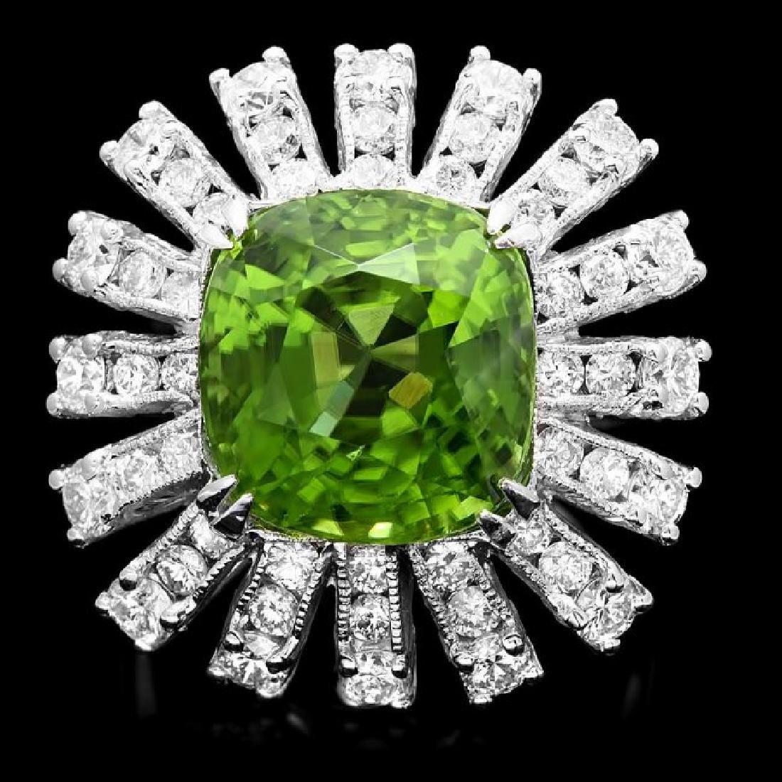 14k Gold 11.50ct Peridot 2.25ct Diamond Ring