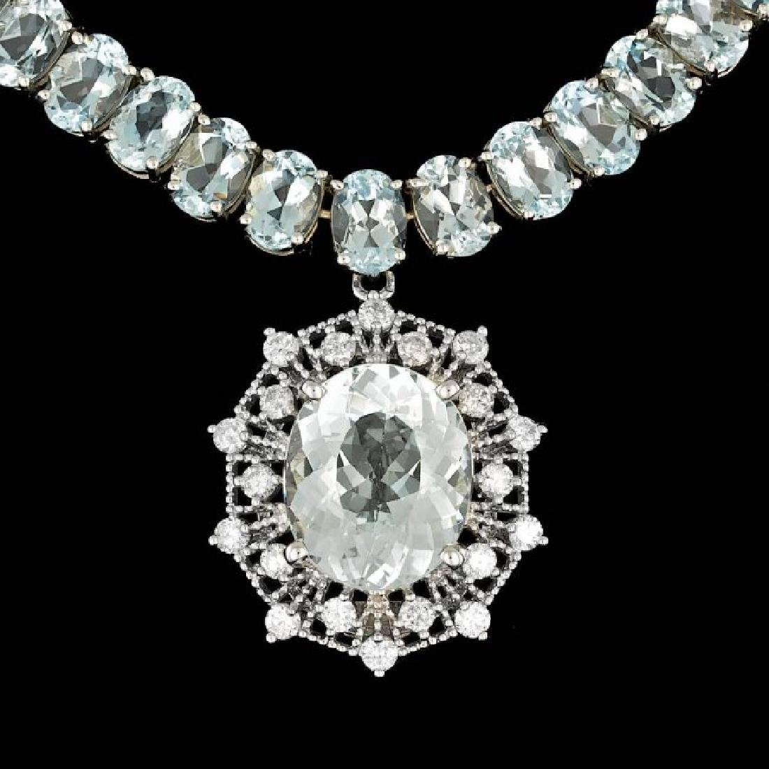 14k Gold 61ct Aquamarine 1.40ct Diamond Necklace