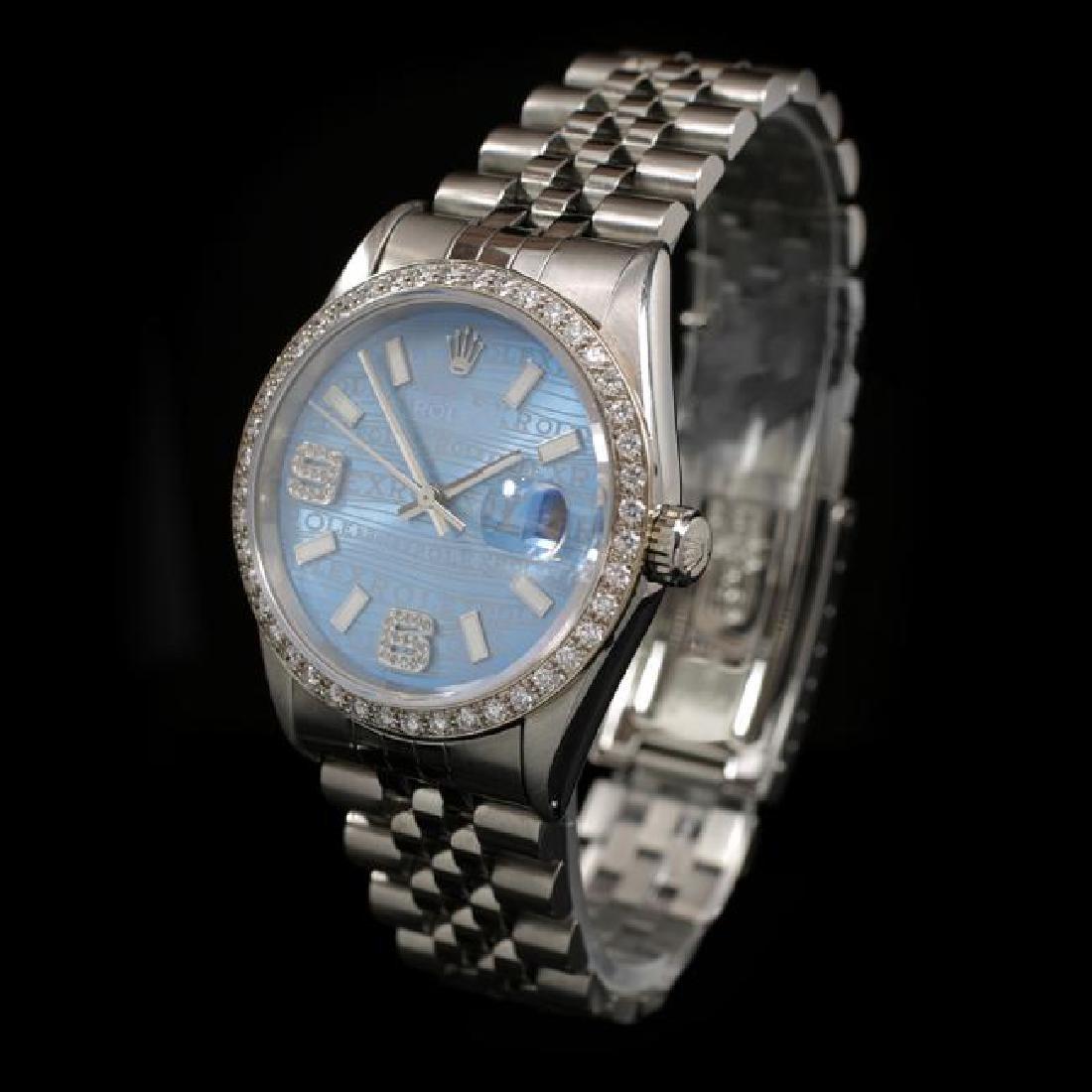 Rolex DateJust SS 36mm Custom Diamond Bezel Men's - 2