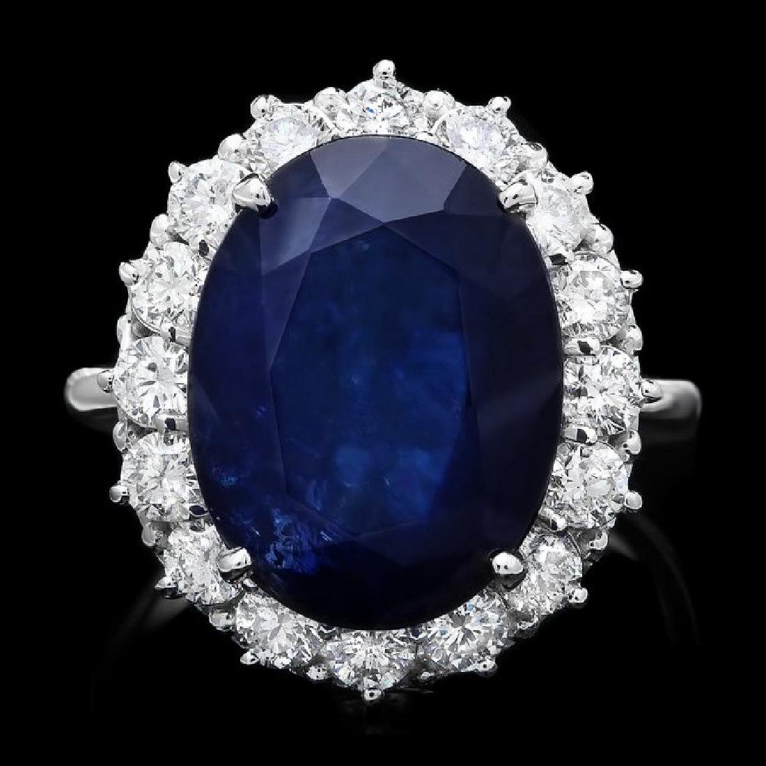 14k Gold 12.17ct Sapphire 1.48ct Diamond Ring
