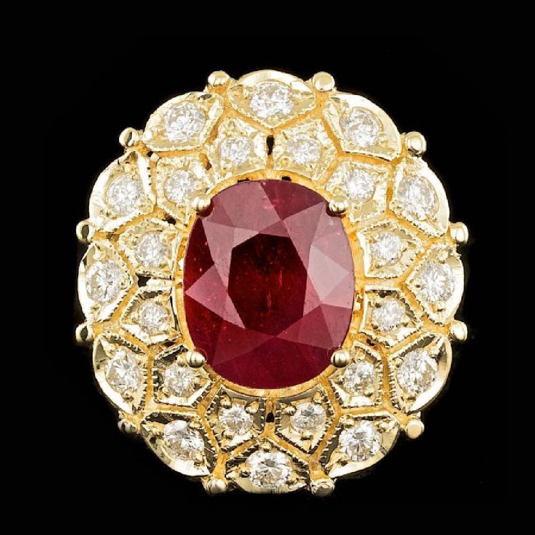 14k Yellow Gold 9.00ct Ruby 1.65ct Diamond Ring