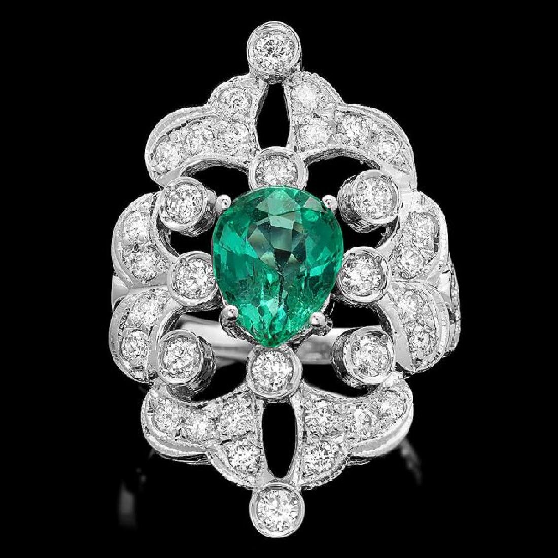 14k White Gold 2.00ct Emerald 1.35ct Diamond Ring