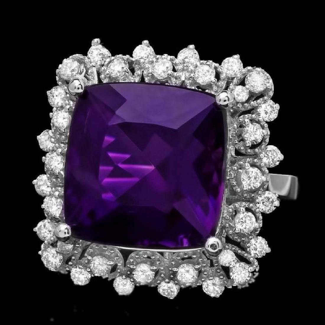 14k Gold 9.70ct Amethyst 0.80ct Diamond Ring