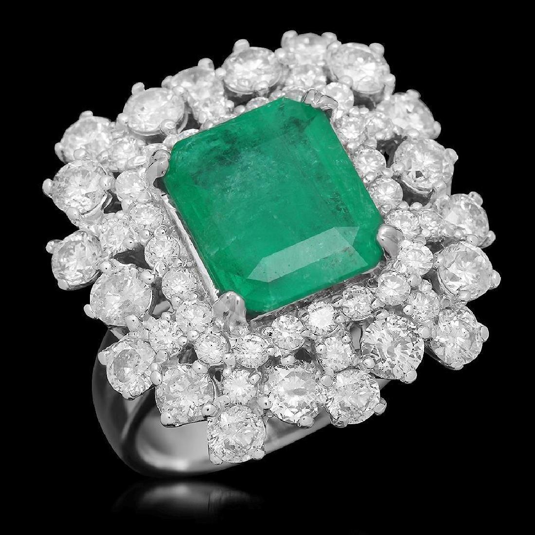 14K Gold 2.96 Emerald 2.81 Diamond Ring