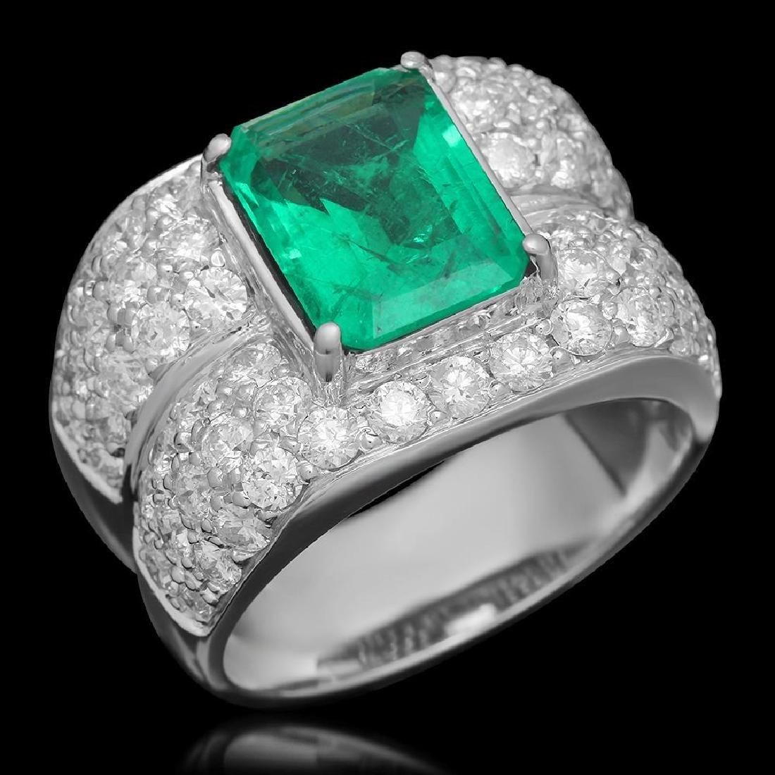 14K Gold 3.45 Emerald 3.68 Diamond Ring