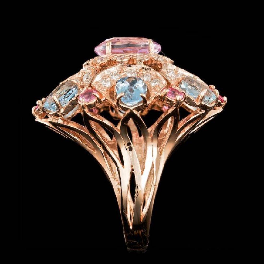 14k Rose Gold 3.50ct Kunzite 1.25ct Diamond Ring - 3
