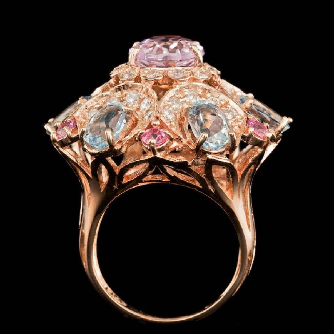 14k Rose Gold 3.50ct Kunzite 1.25ct Diamond Ring - 4