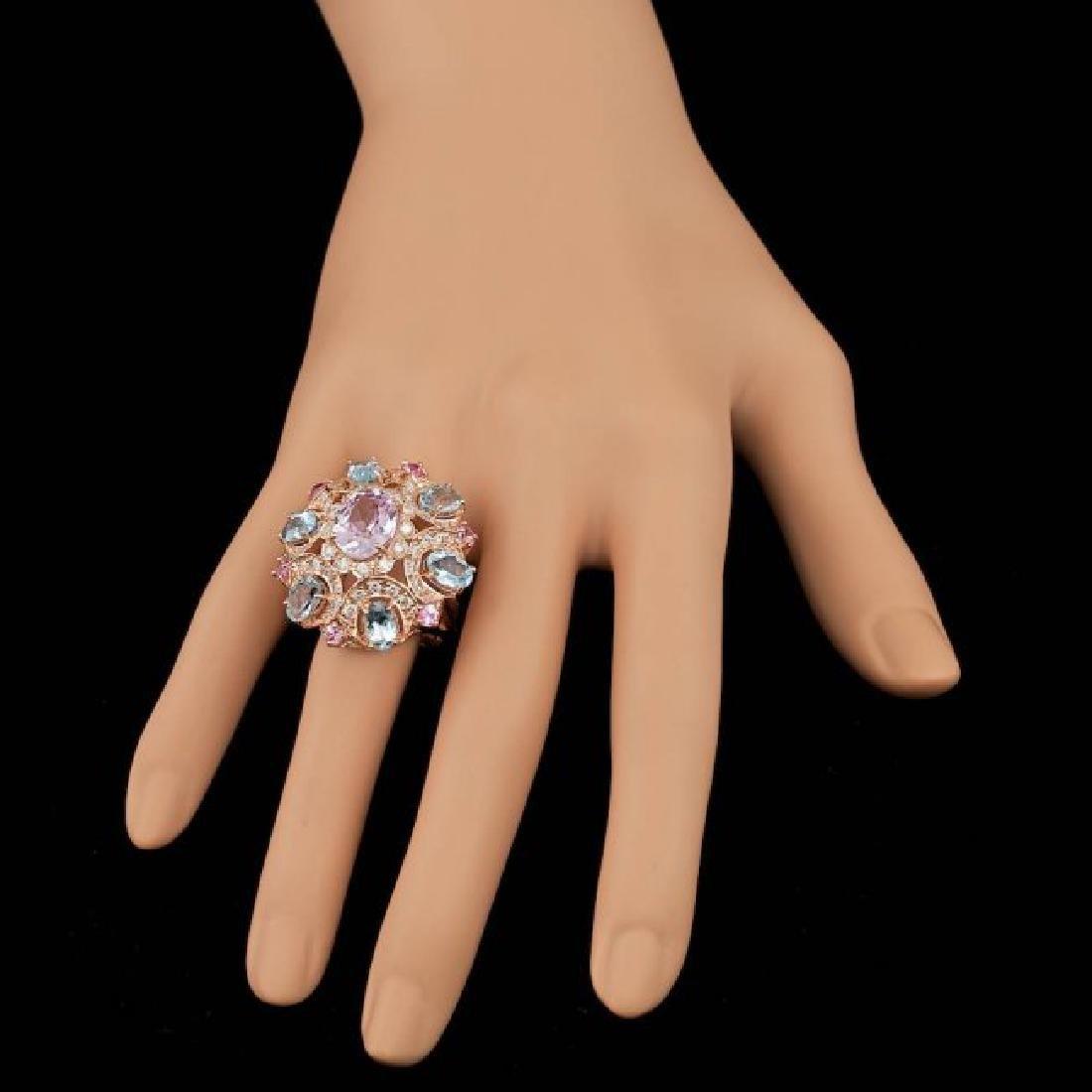 14k Rose Gold 3.50ct Kunzite 1.25ct Diamond Ring - 6