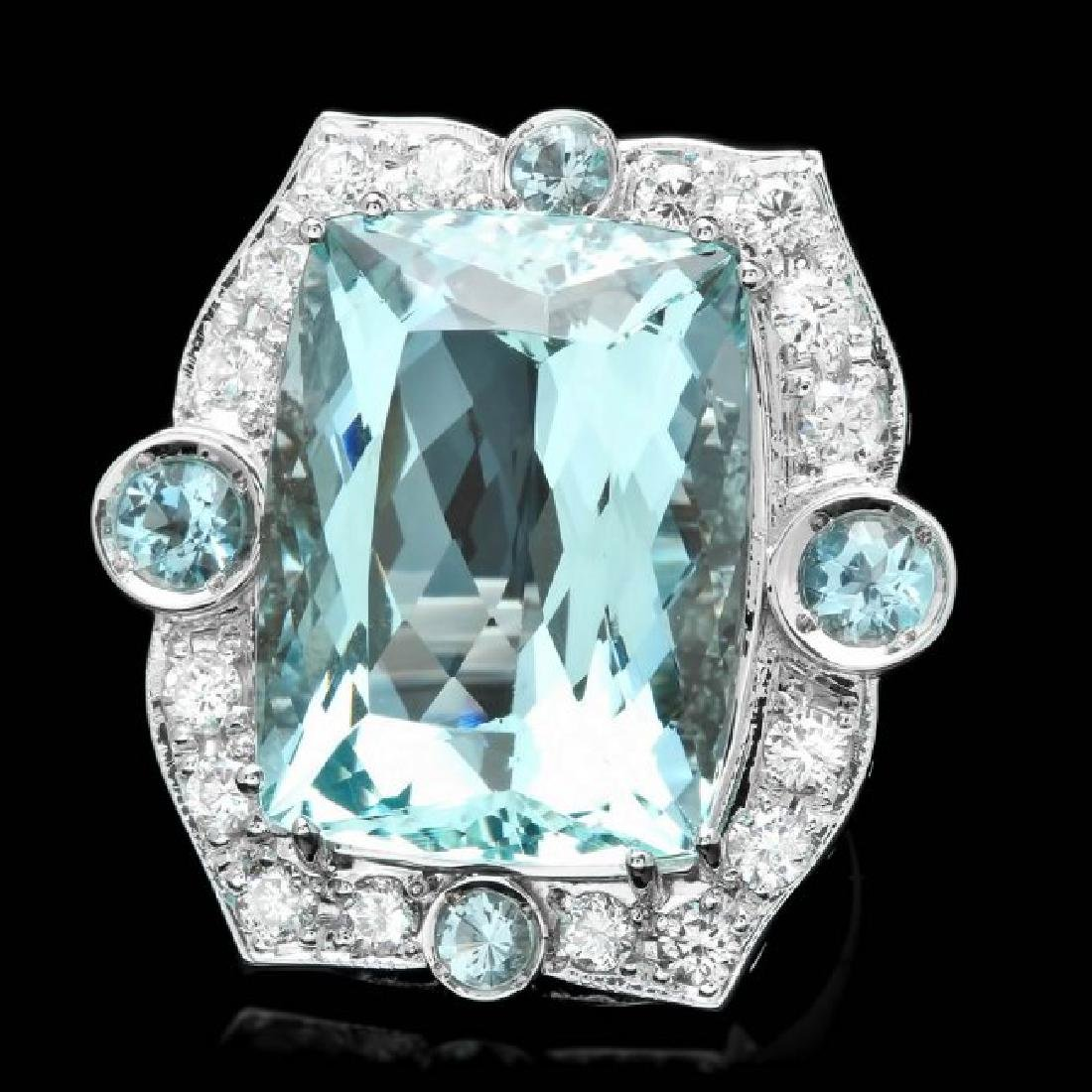 14k Gold 22ct Aquamarine 1.35ct Diamond Ring