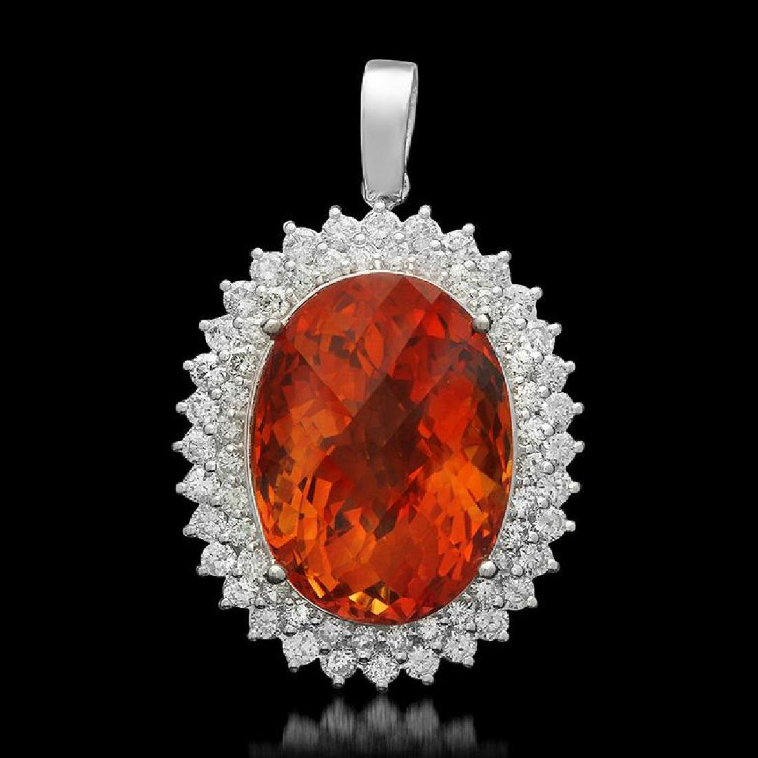 14K Gold 28.63 Citrine 2.20ct Diamond Pendant