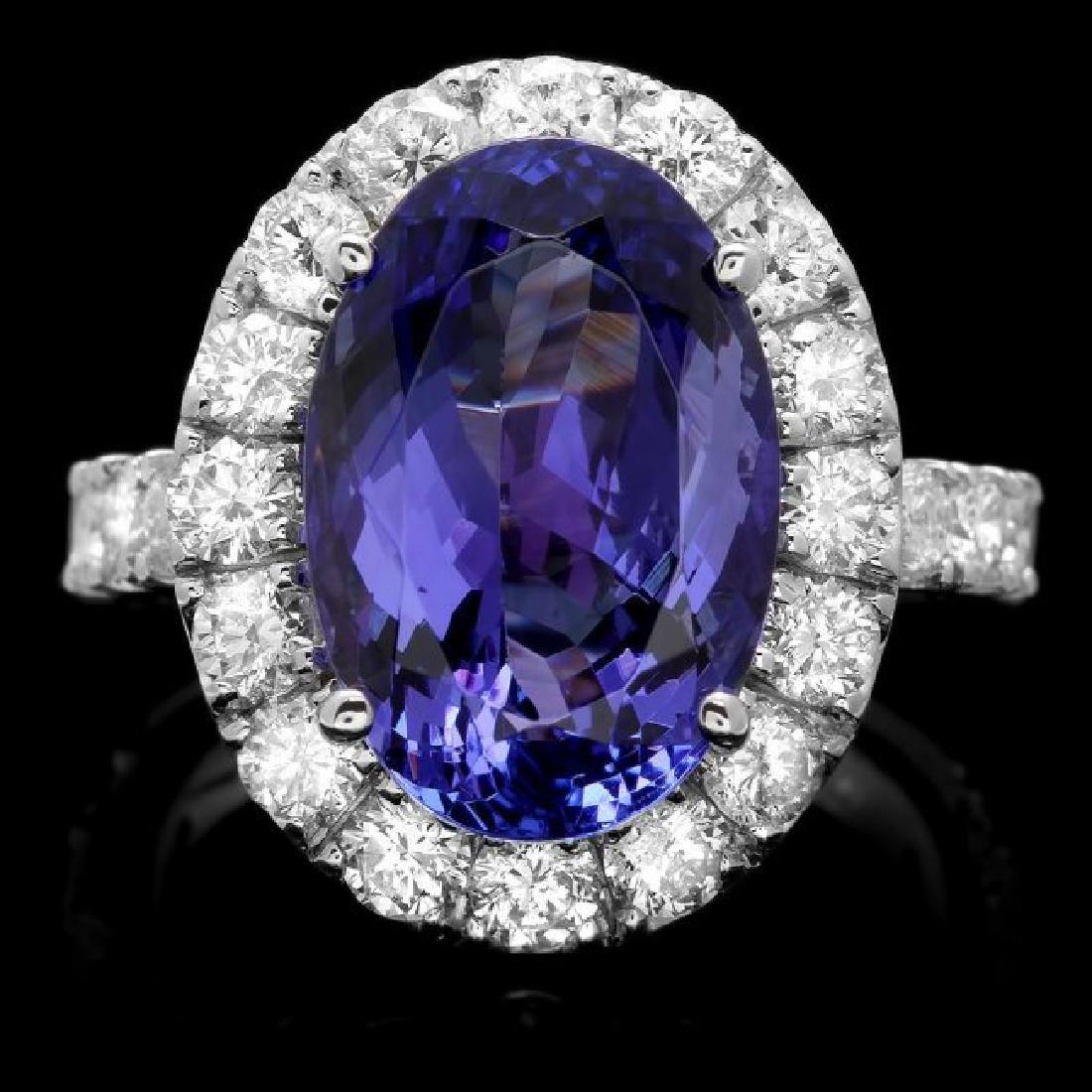 14k Gold 8.00ct Tanzanite 2.10ct Diamond Ring