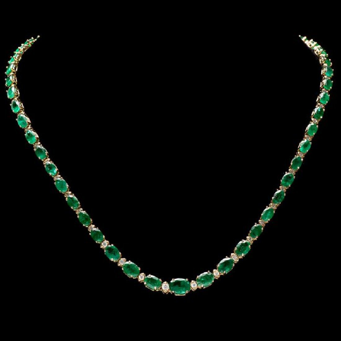 14k Gold 23ct Emerald 1.10ct Diamond Necklace