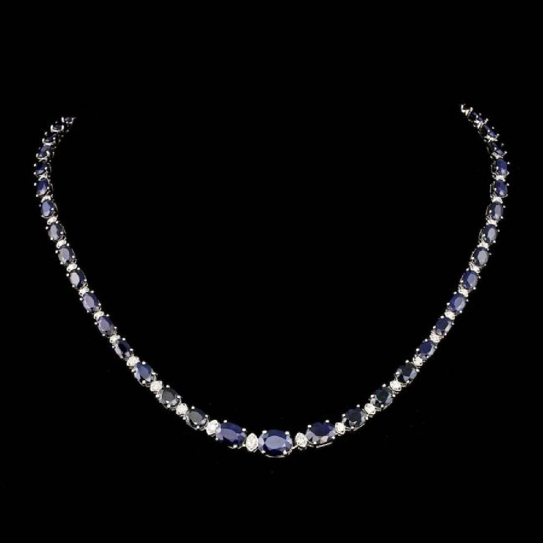 14k Gold 30.00ct Sapphire 1.25ct Diamond Necklace