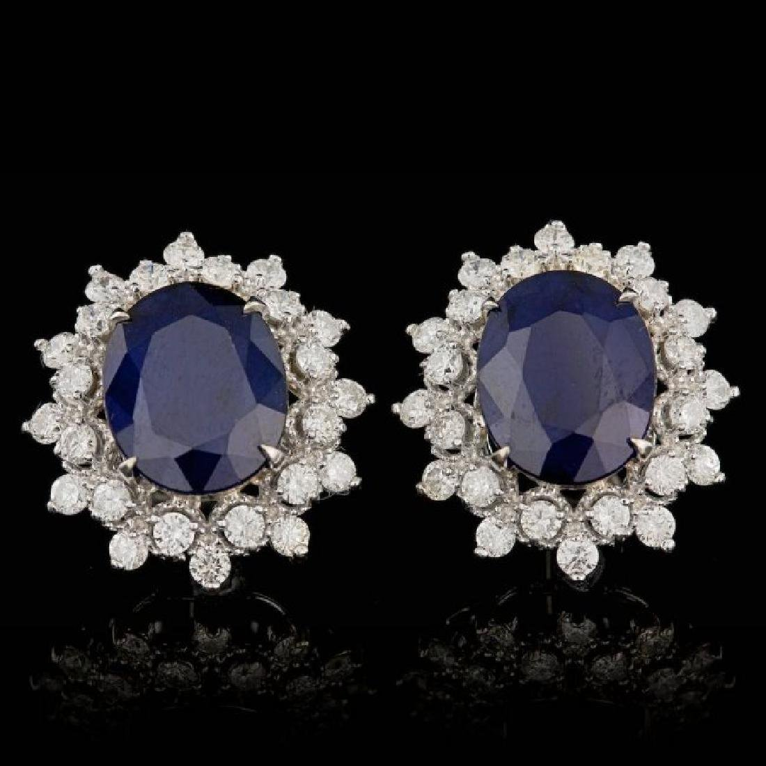 14k Gold 7.00ct Sapphire 1.30ct Diamond Earrings
