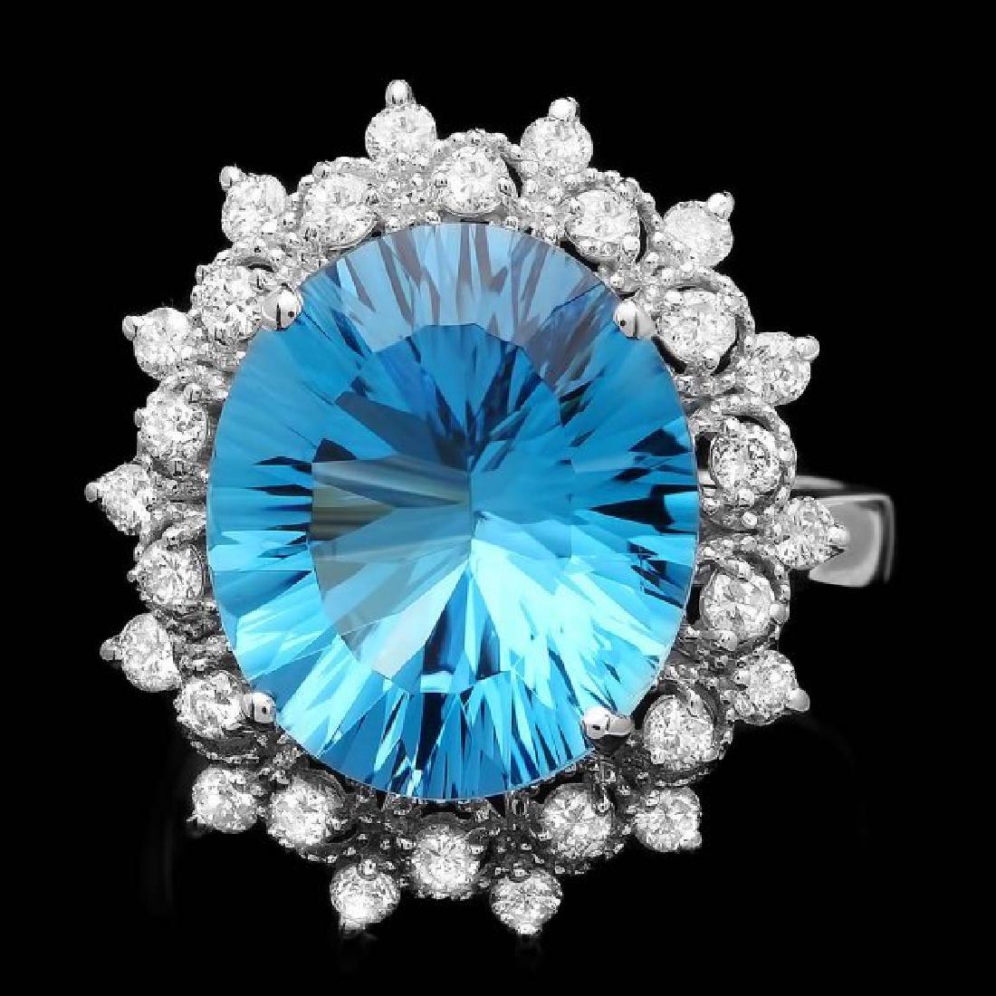 14k White Gold 7.00ct Topaz 0.70ct Diamond Ring
