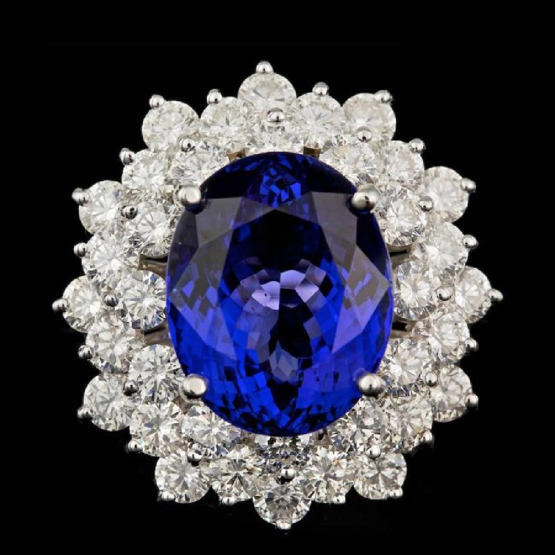 18k Gold 10.00ct Tanzanite 3.60ct Diamond Ring