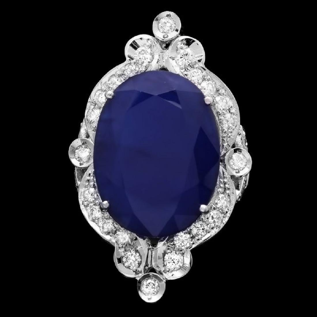 14k Gold 19.15ct Sapphire 1.30ct Diamond Ring