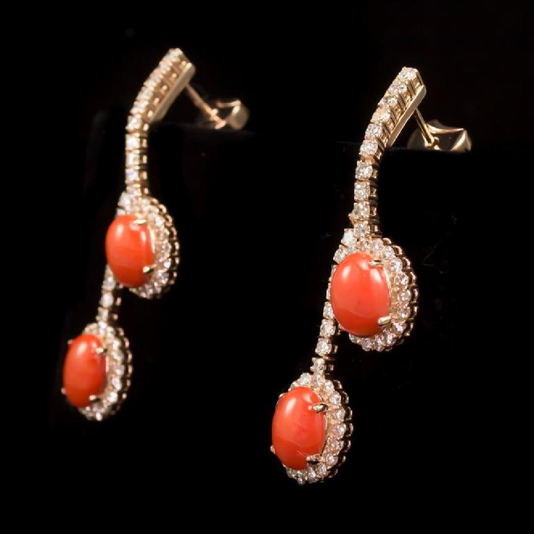 14K Gold 4.59ct Coral 2.80ct Diamond Earrings
