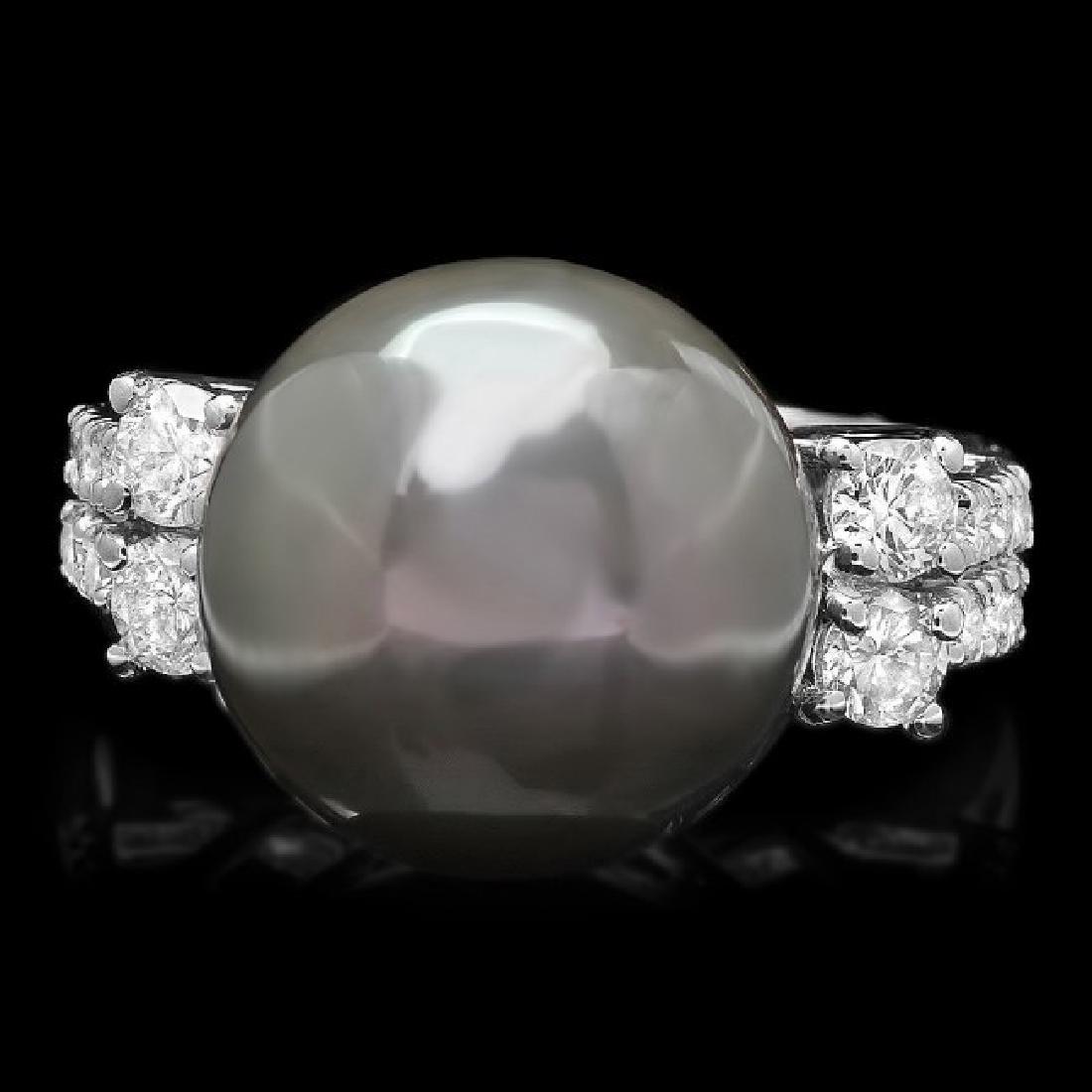 14k Gold 13 X 13mm Pearl 0.70ct Diamond Ring