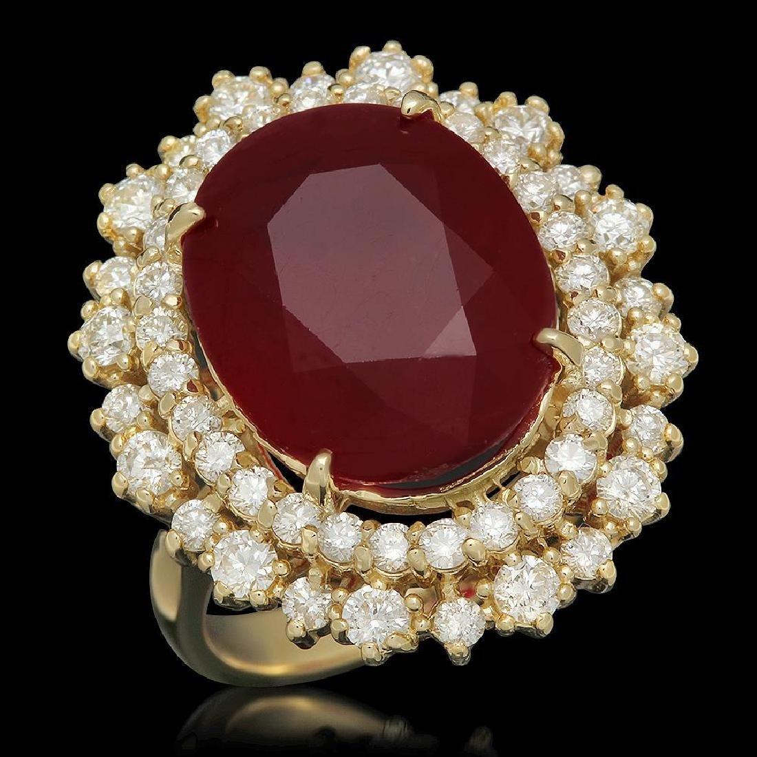 14K Gold 12.77ct Ruby 1.60ct Diamond Ring
