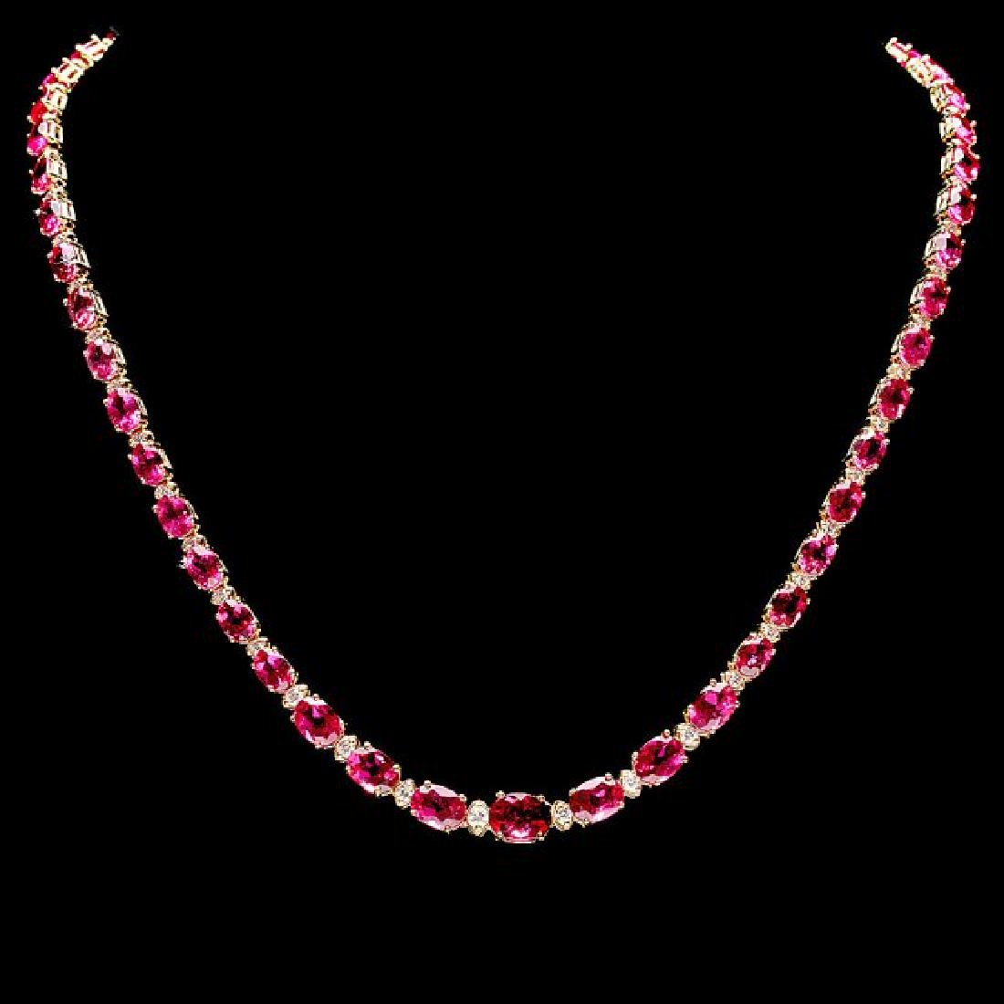 14k Gold 26ct Tourmaline 1.40ct Diamond Necklace