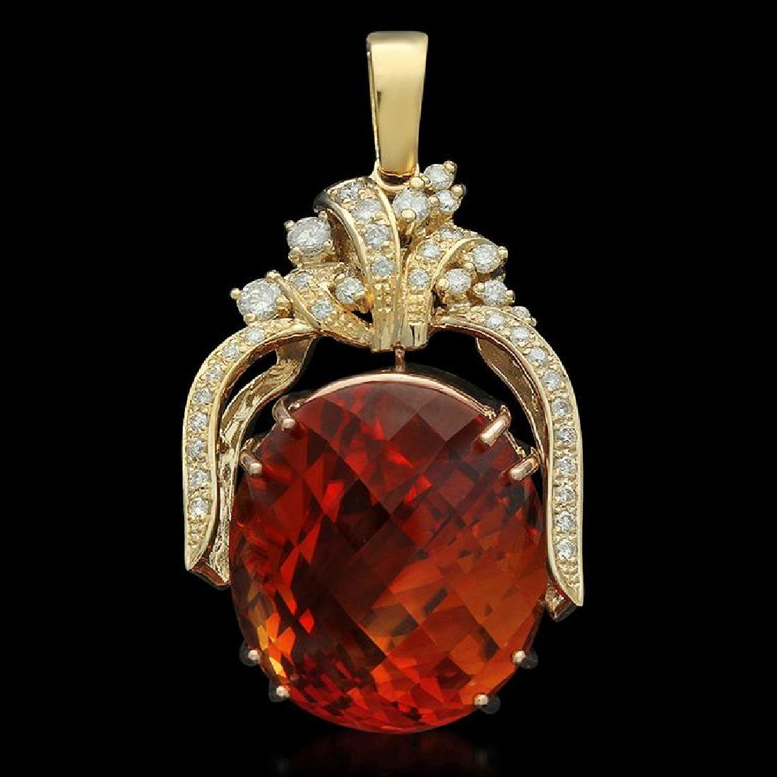 14K Gold 47.70ct Citrine 1.10ct Diamond Pendant