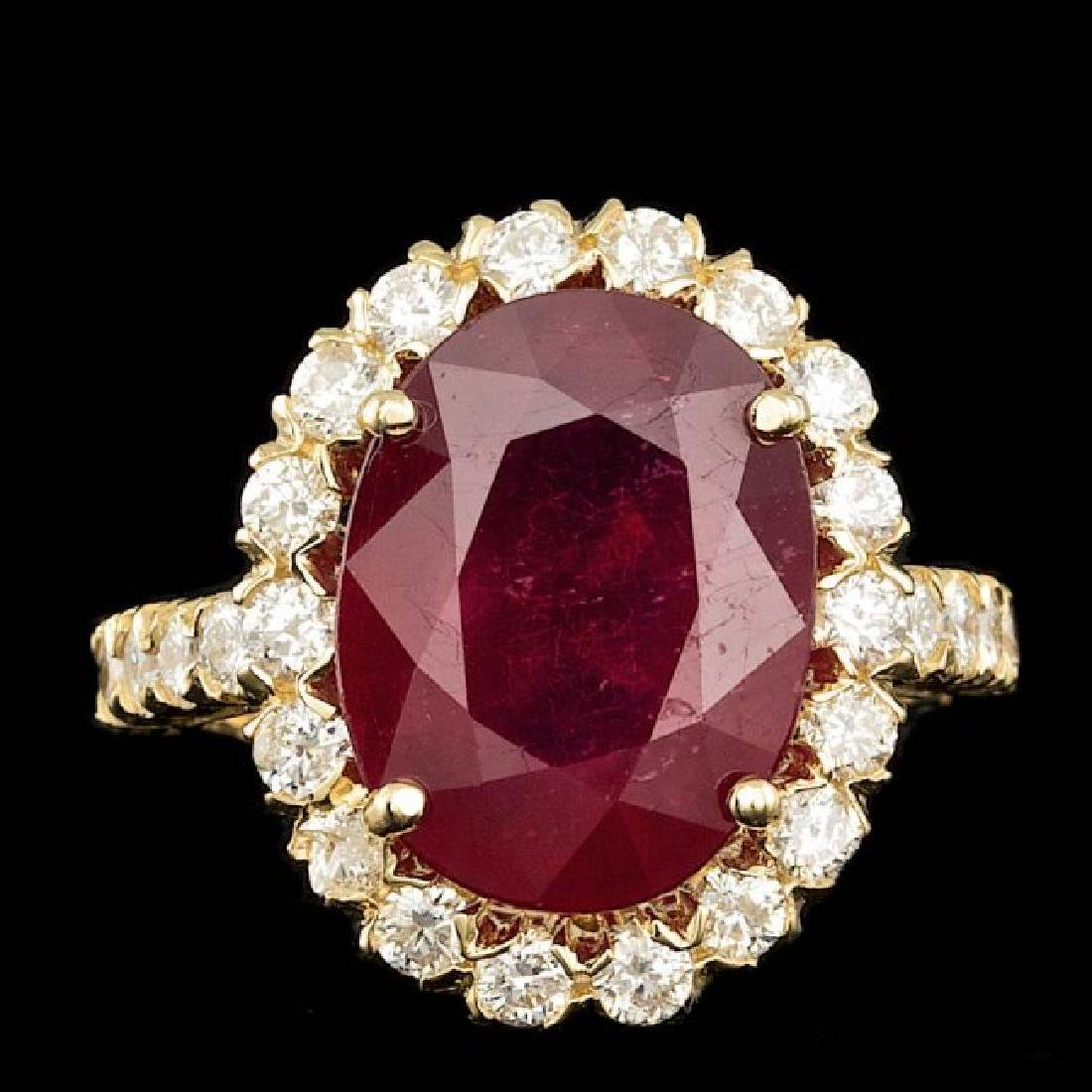 14k Yellow Gold 9.00ct Ruby 1.50ct Diamond Ring