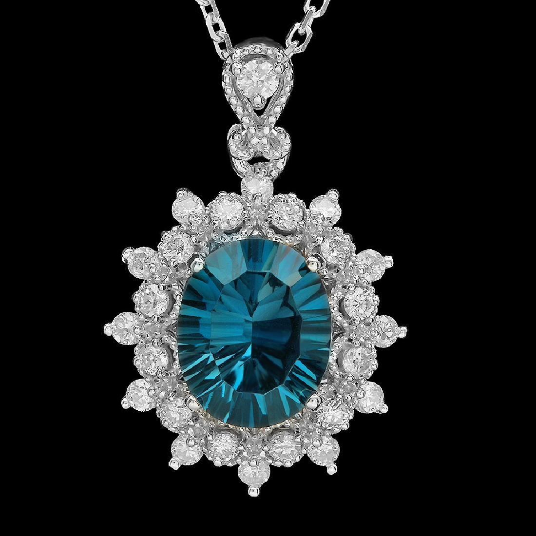 14K Gold 2.89ct Topaz 0.55ct Diamond Pendant