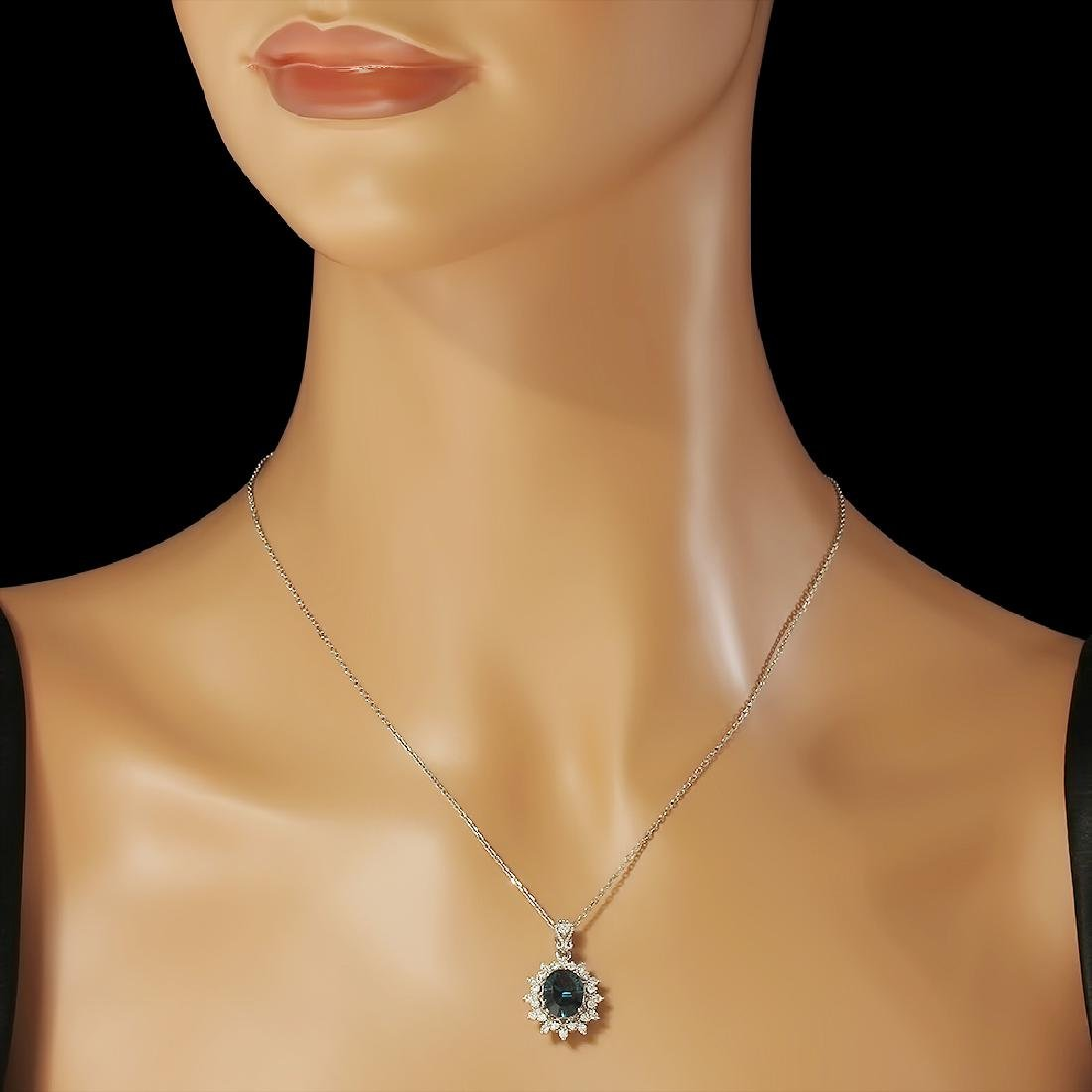 14K Gold 2.89ct Topaz 0.55ct Diamond Pendant - 2