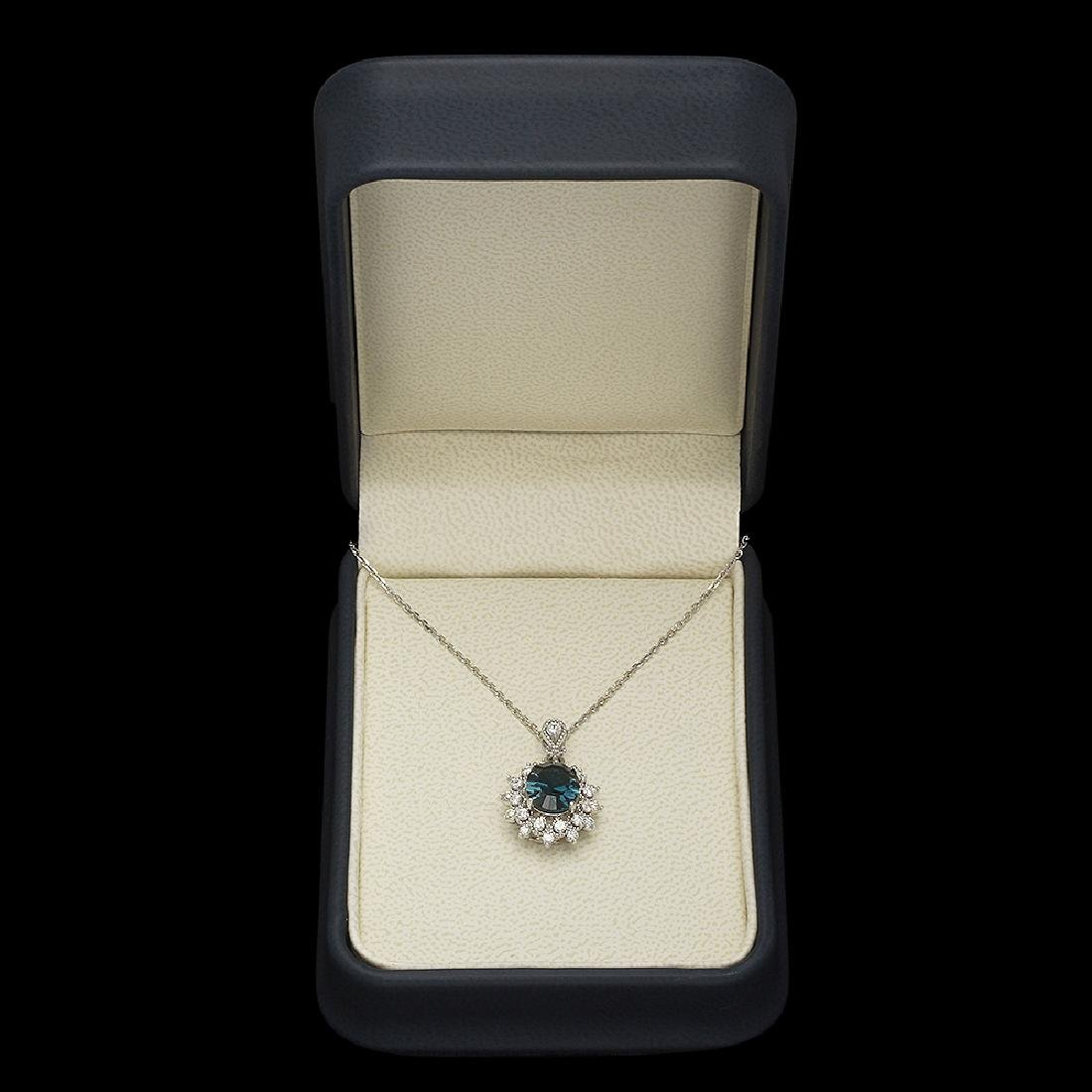 14K Gold 2.89ct Topaz 0.55ct Diamond Pendant - 3