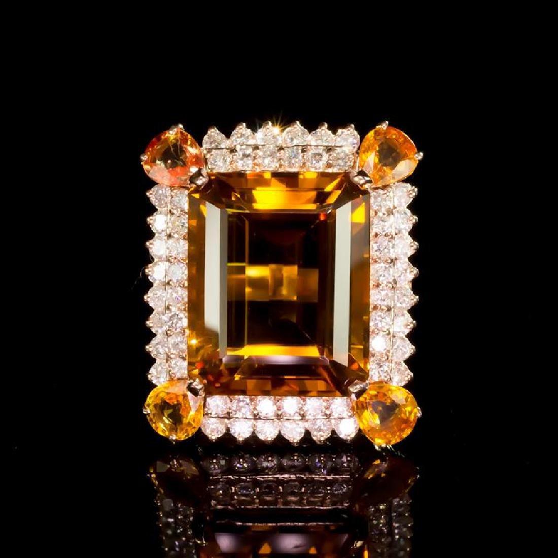 14K Gold 18.76ct Citrine, 2.50ct Orange Sapphire 1.85ct