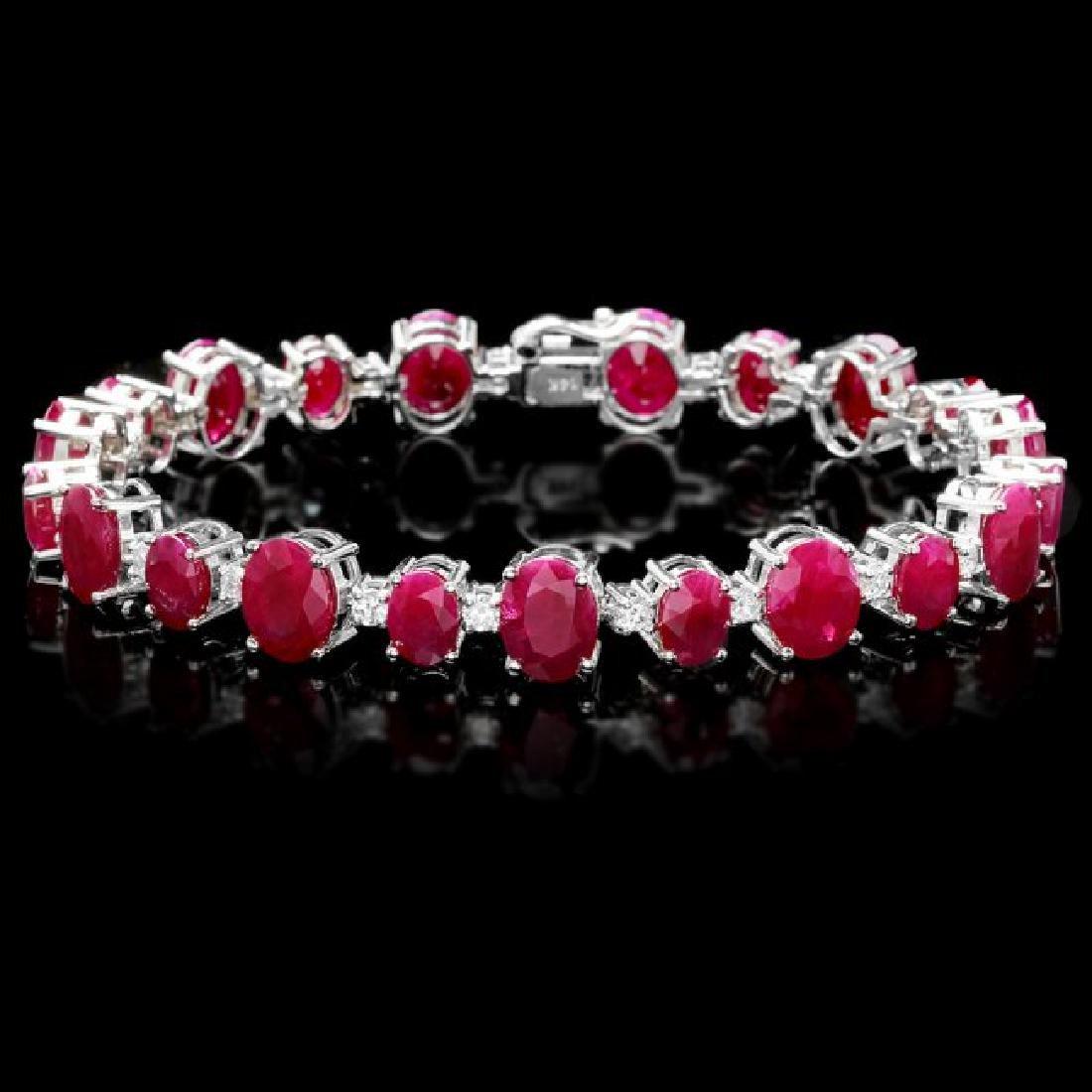14k Gold 40.00ct Ruby 1.50ct Diamond Bracelet