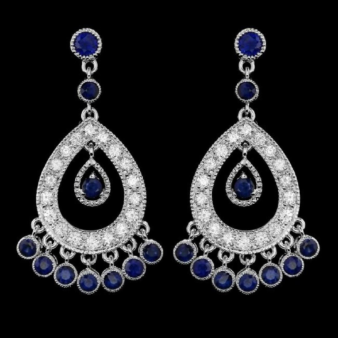 14k Gold 3.00ct Sapphire 1.50ct Diamond Earrings