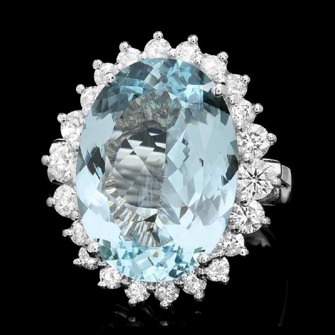 14k Gold 9.00ct Aquamarine 1.30ct Diamond Ring