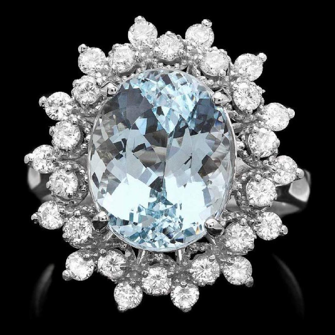 14k Gold 4.92ct Aquamarine 0.79ct Diamond Ring