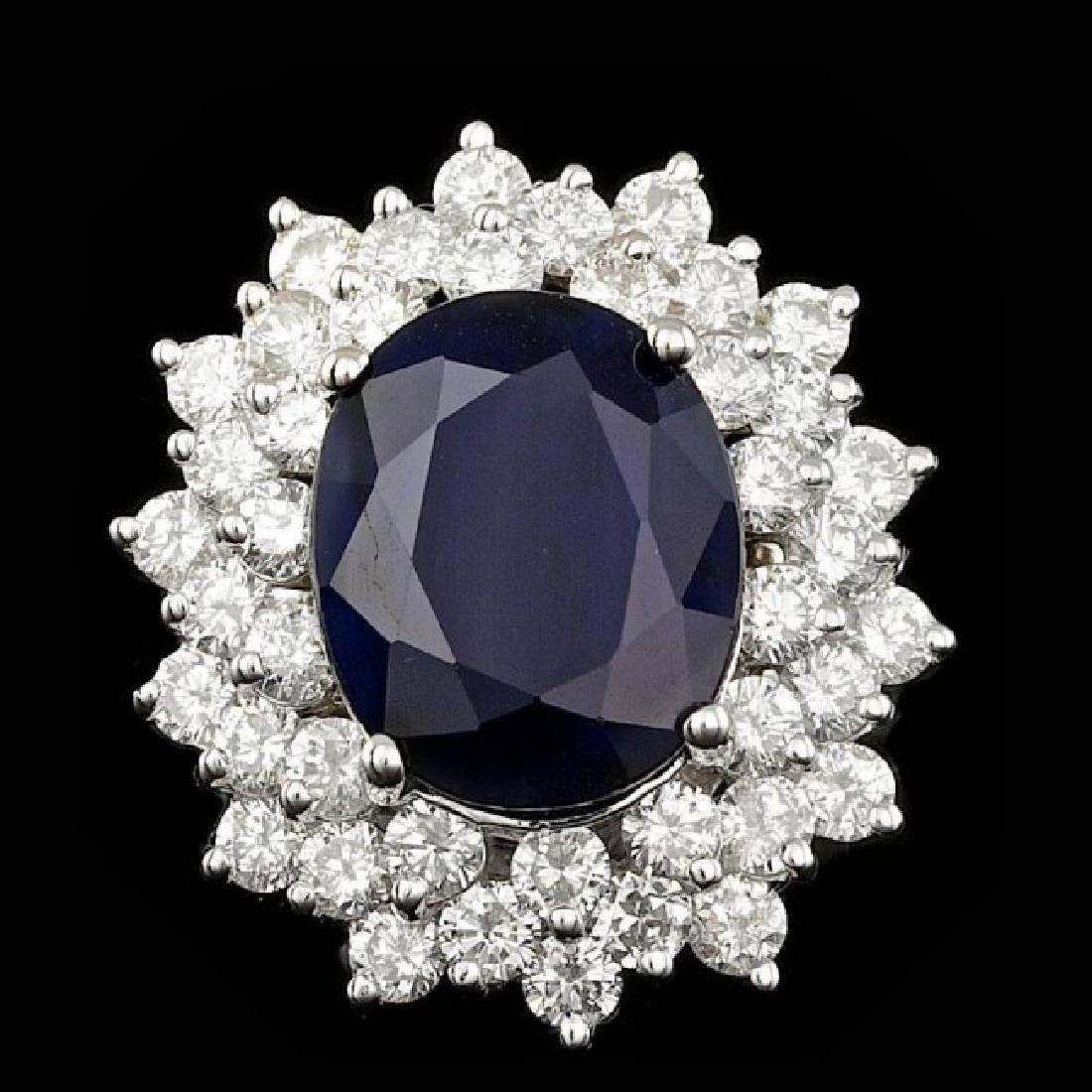 14k Gold 9.50ct Sapphire 2.80ct Diamond Ring