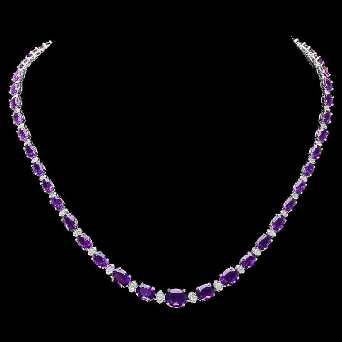 14k Gold 28.00ct Amethyst 1.40ct Diamond Necklace