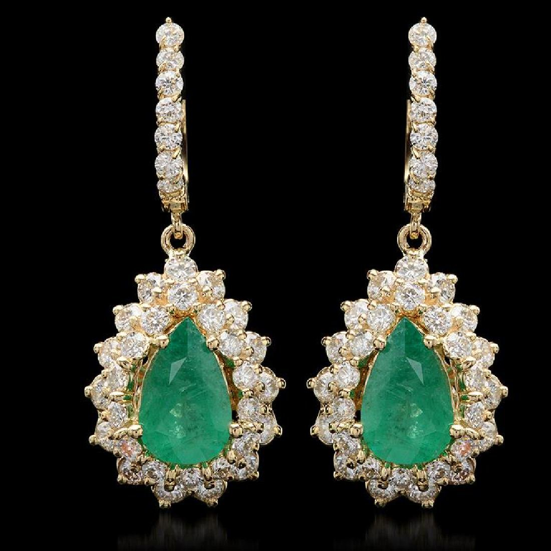 14K Gold 3.45ct Emerald 3.10ct Diamond Earrings