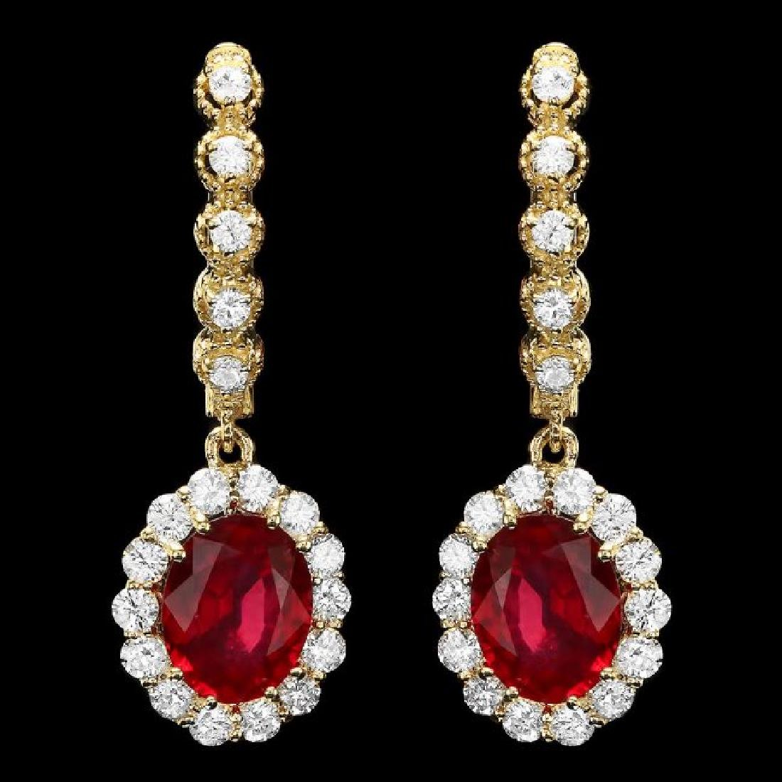 14k Gold 5.3ct Ruby 1.40ct Diamond Earrings