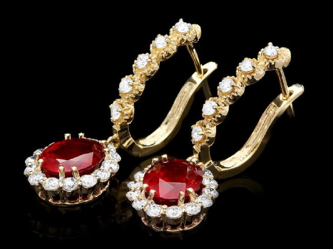 14k Gold 5.3ct Ruby 1.40ct Diamond Earrings - 2