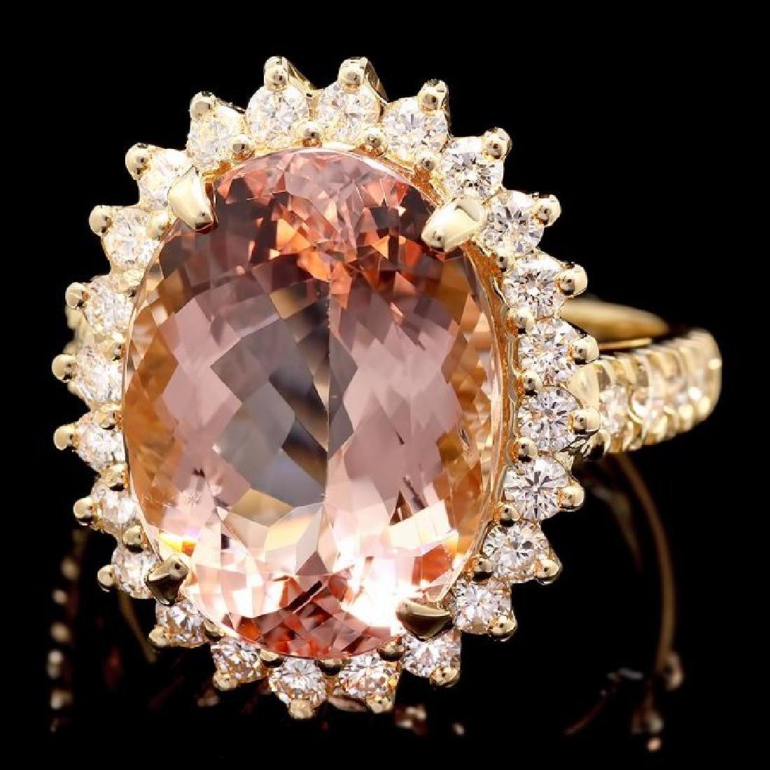 14k Gold 8.80ct Morganite 1.10ct Diamond Ring