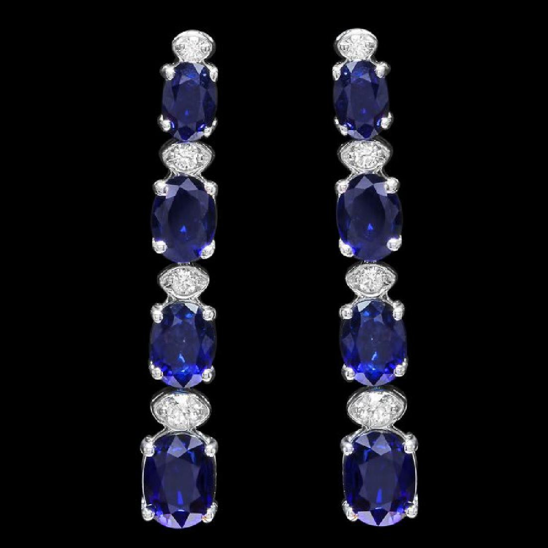 14k Gold 6.00ct Sapphire 0.30ct Diamond Earrings