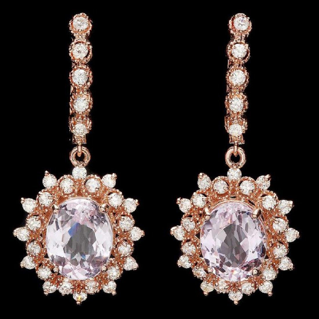 14k Rose 8.00ct Kunzite 1.70ct Diamond Earrings