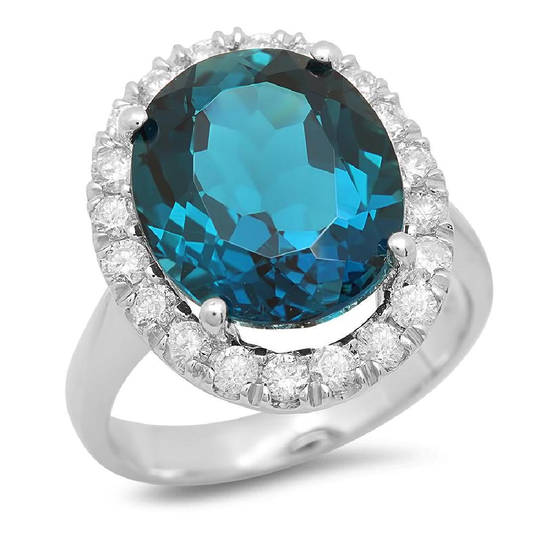 14K Gold 9.30ct Blue Topaz 0.80cts Diamond Ring