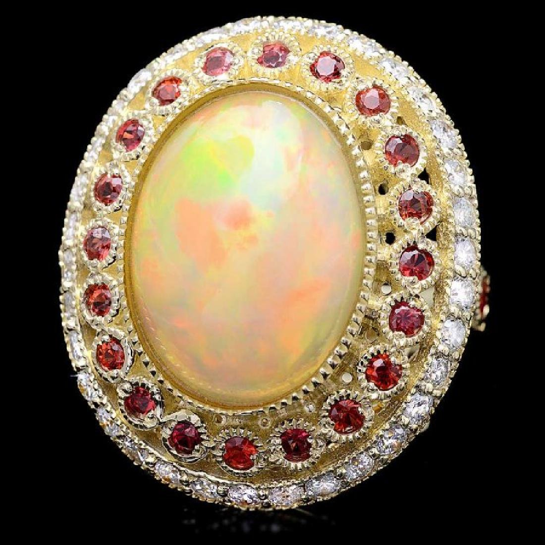 14k Yellow Gold 8.00ct Opal 1.20ct Diamond Ring