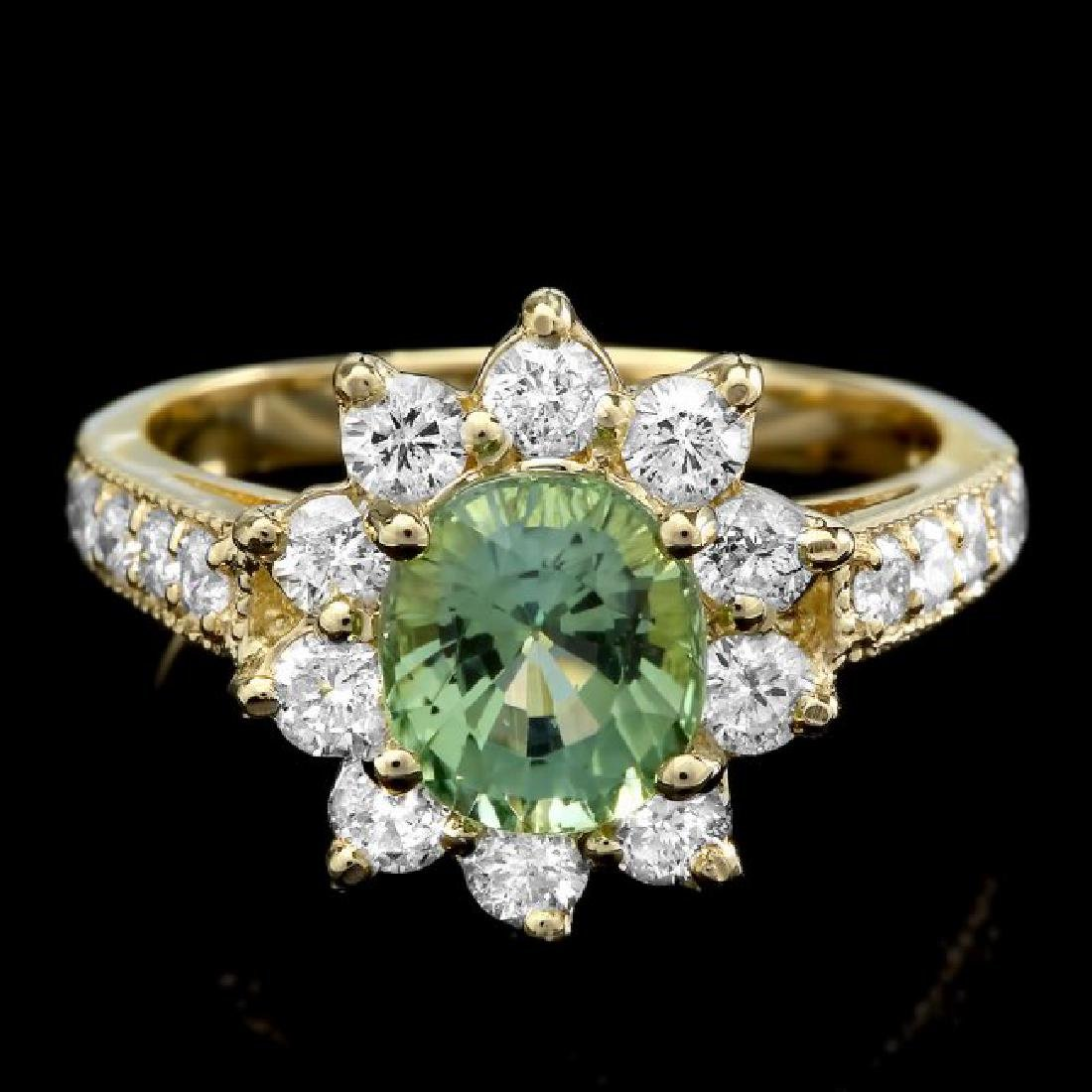 14k Gold 1.74ct Tourmaline 1.10ct Diamond Ring