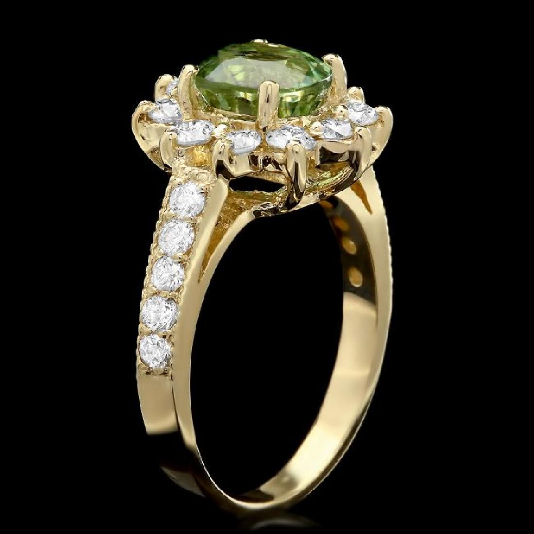 14k Gold 1.74ct Tourmaline 1.10ct Diamond Ring - 2