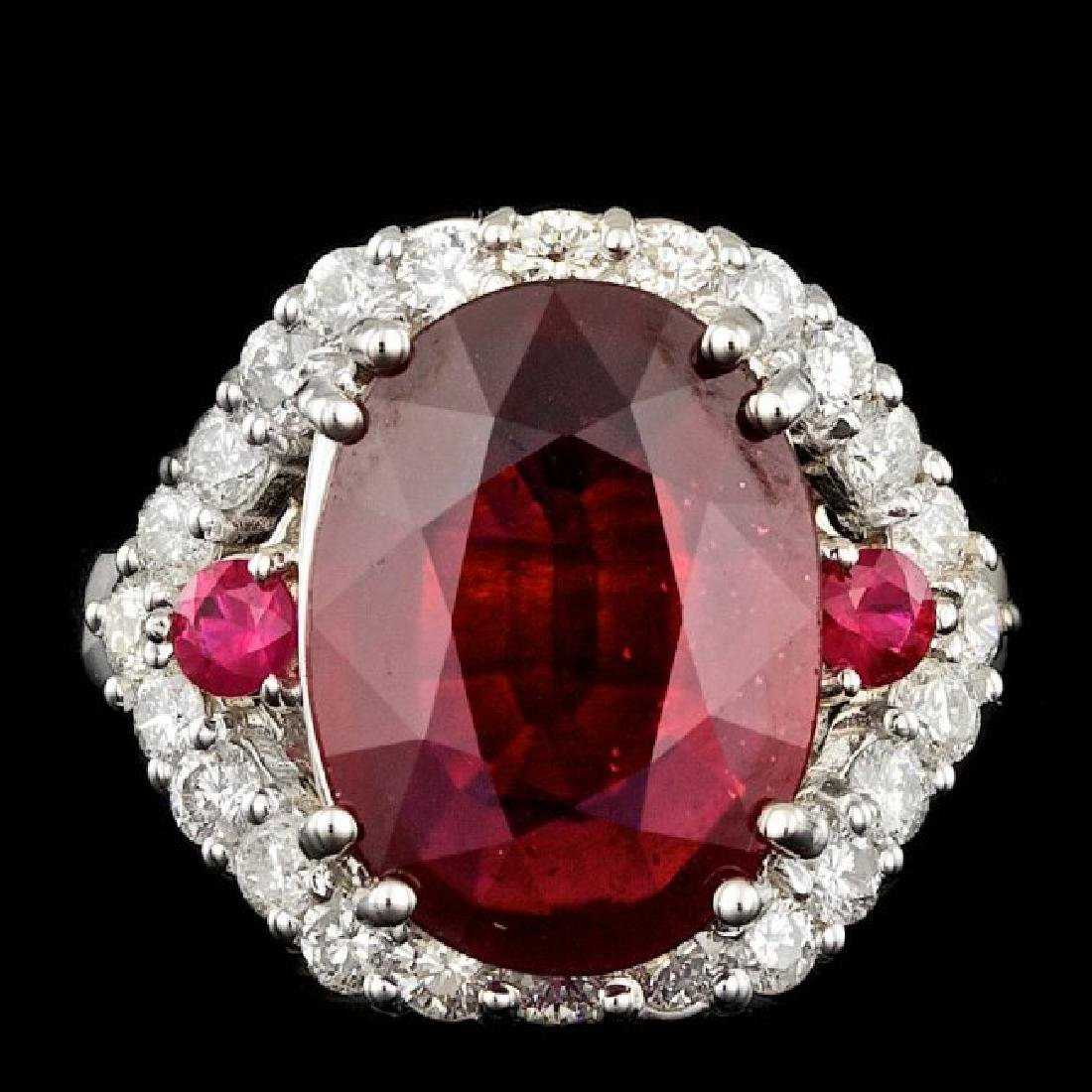 14k White Gold 7.3ct Ruby 1.20ct Diamond Ring